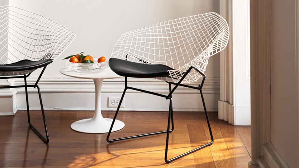chaise diamond chair bertoia blanc noir