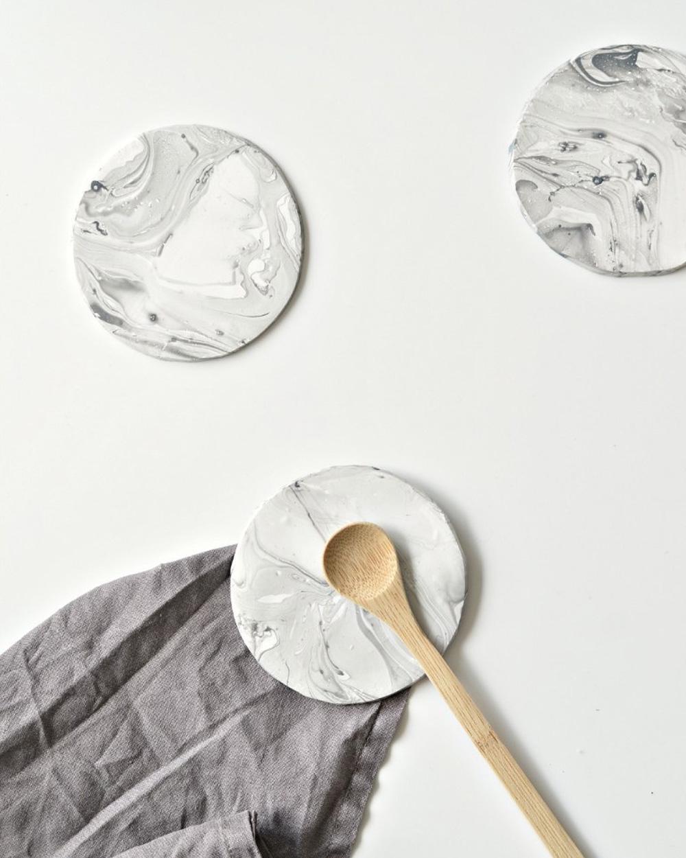 dessous de verre diy marbre