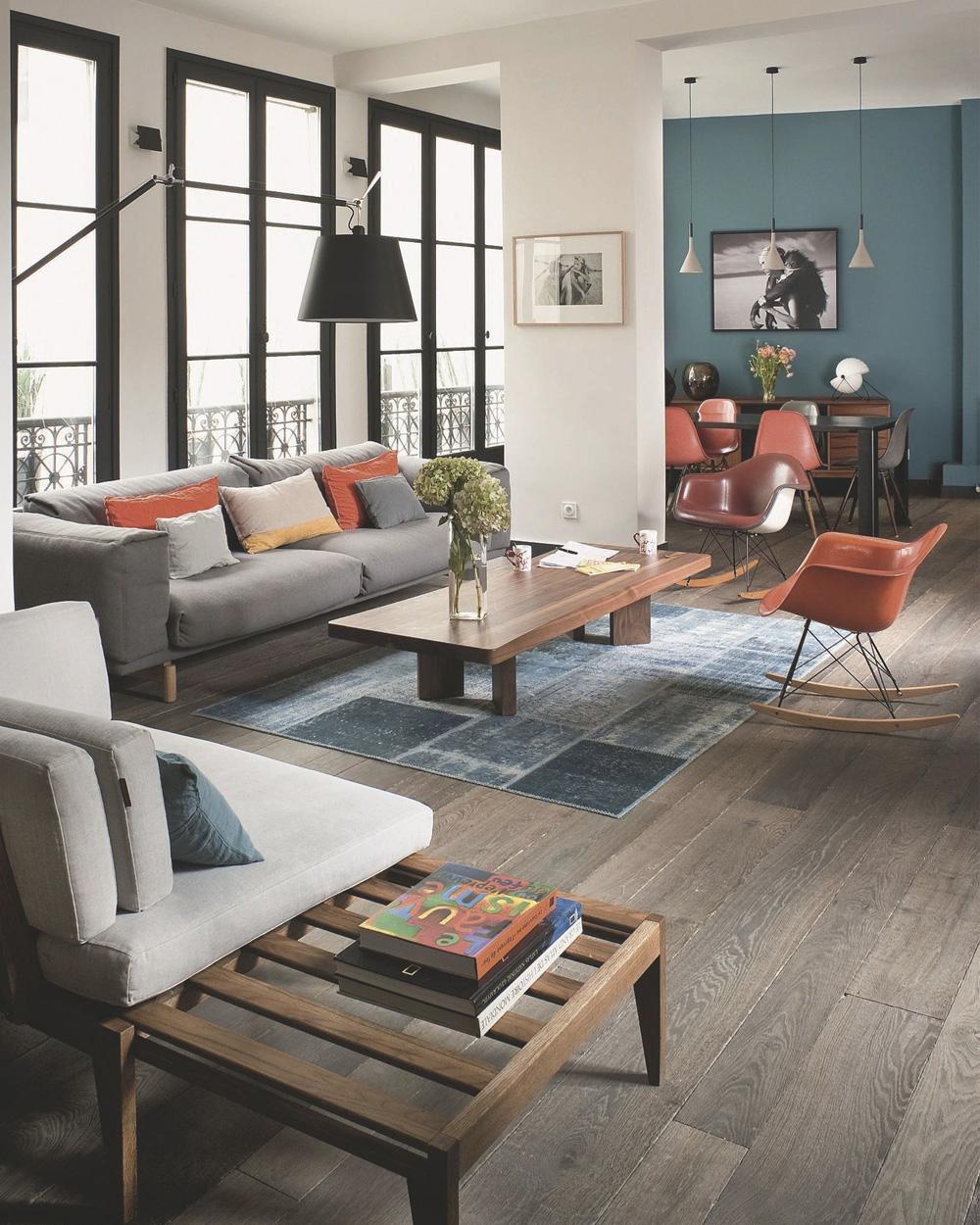 deco orange gris salon