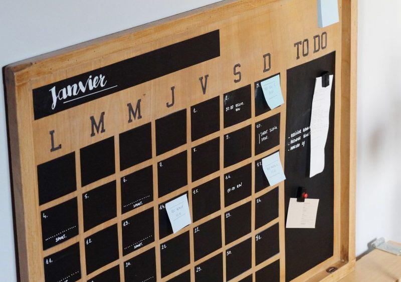 calendrier ardoise diy