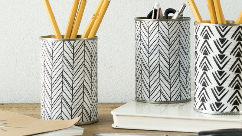 un pot crayon diy avec une boite de conserve shake my blog. Black Bedroom Furniture Sets. Home Design Ideas