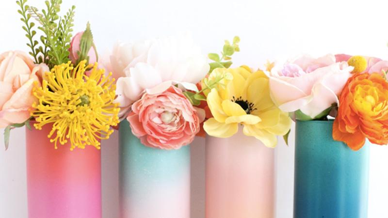 vase peint degrade diy