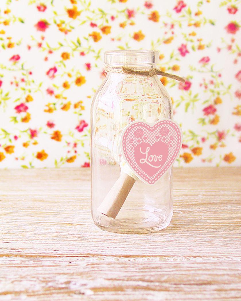 etiquette a imprimer bouteille coeur