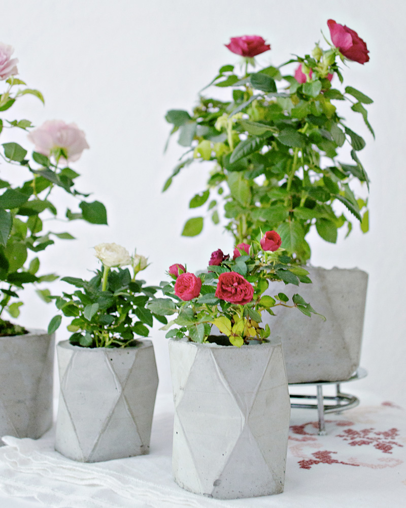 pot beton facette diy