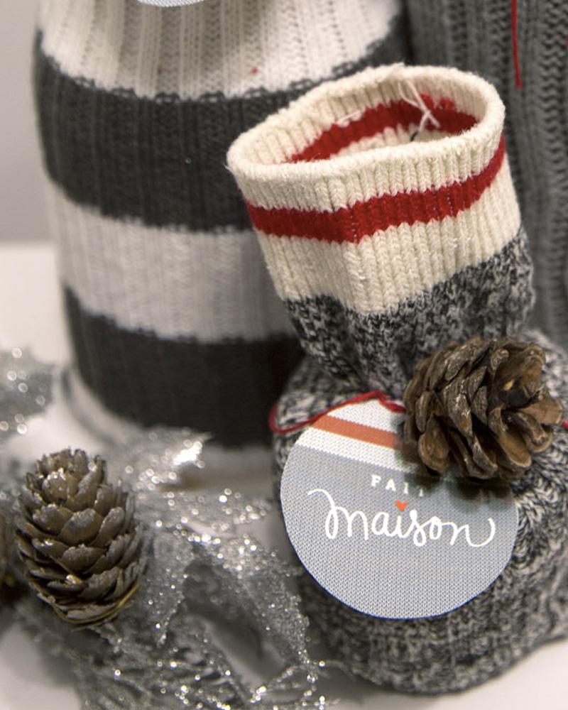 paquet cadeau chaussette diy noel