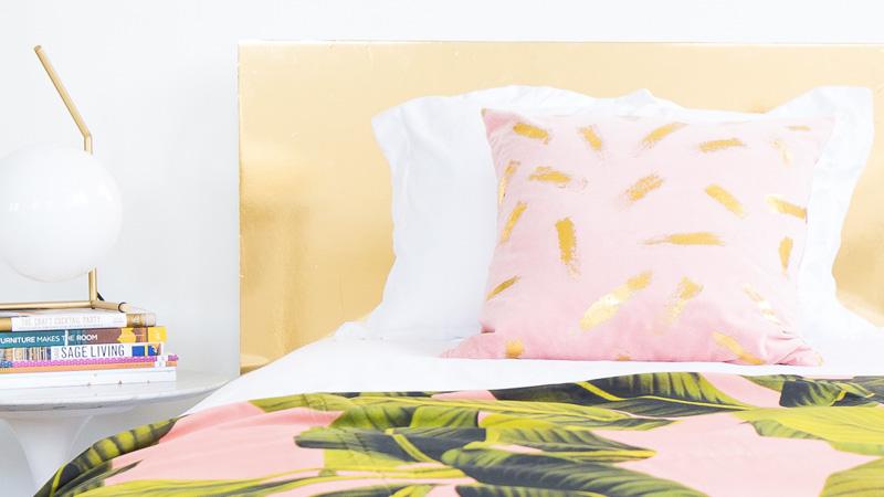 tete de lit dorée diy