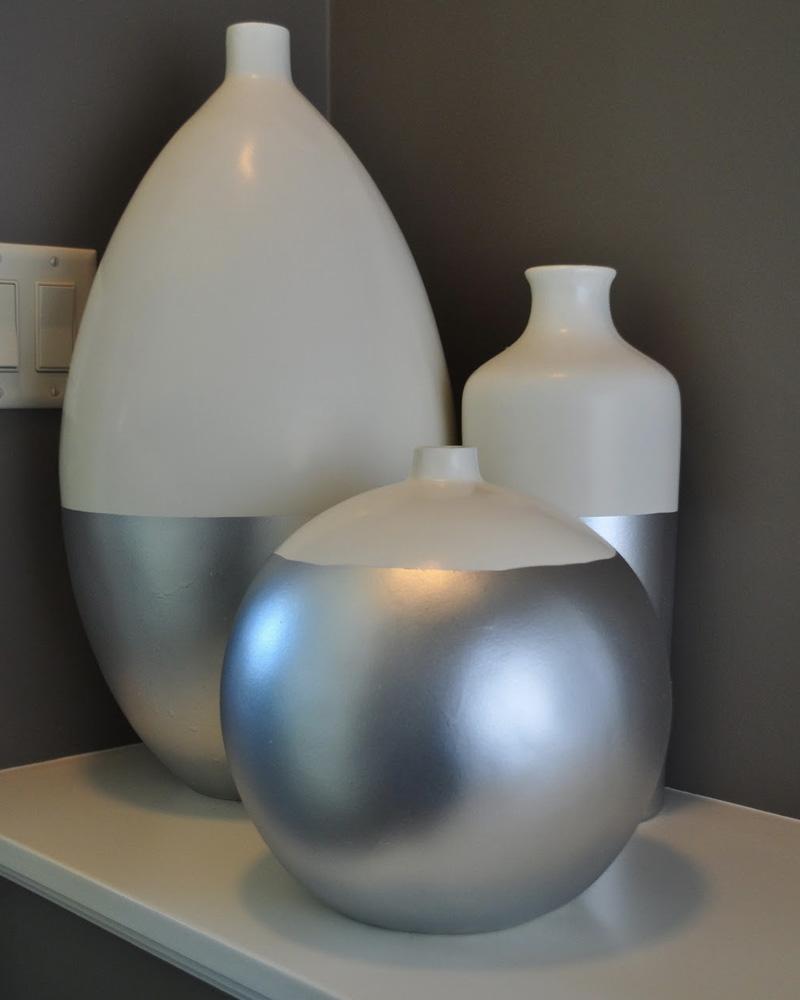 vase metallise diy