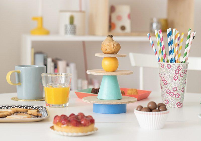 cakestand multicolore diy