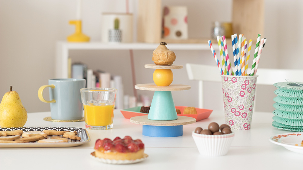 cakestand multicolore diy