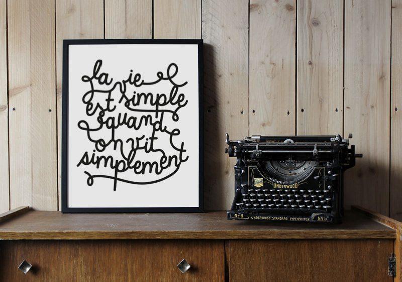 affiche typographique noir blanc milieo