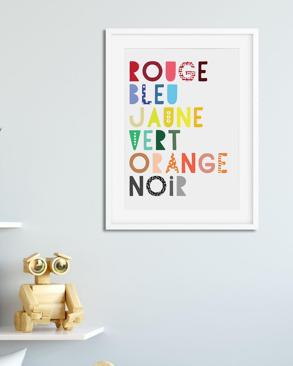 affiche typographique couleurs enfant