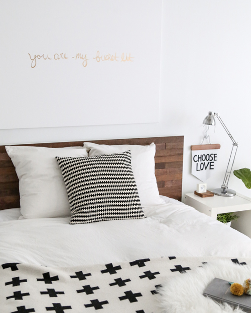 une t te de lit en bois diy shake my blog. Black Bedroom Furniture Sets. Home Design Ideas