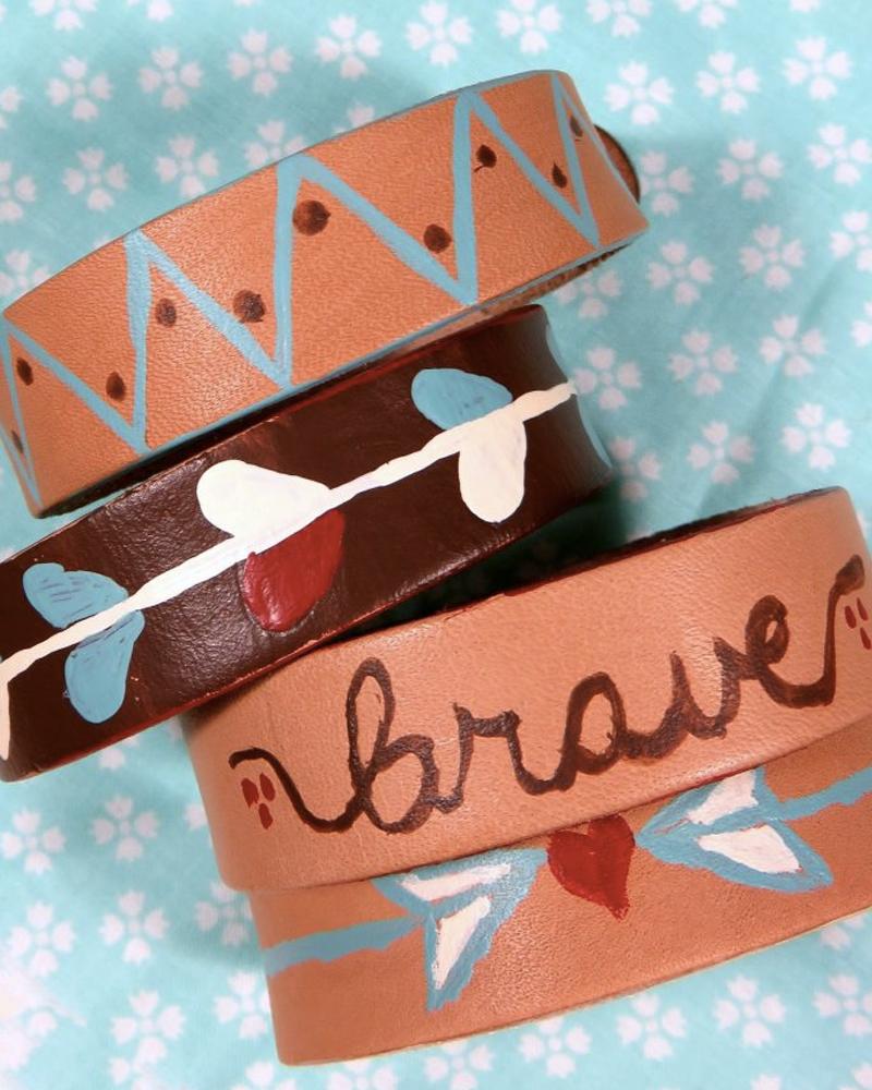 bracelet cuir diy peint