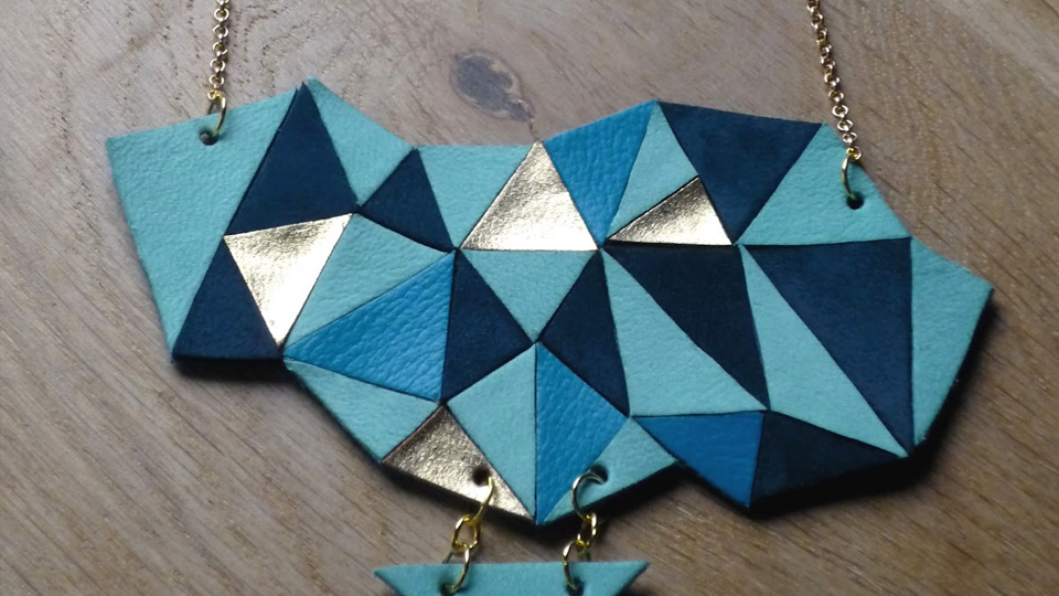 collier cuir diy geometrique