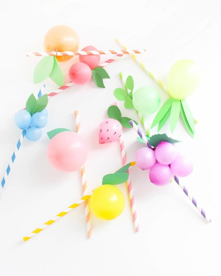 ballon fruit diy pailles