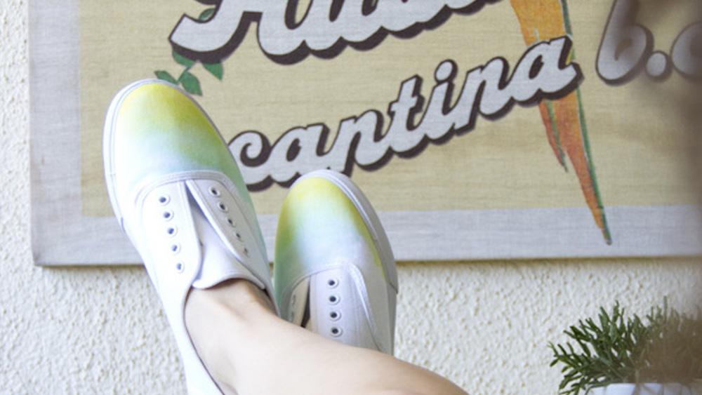 chaussure watercolor diy