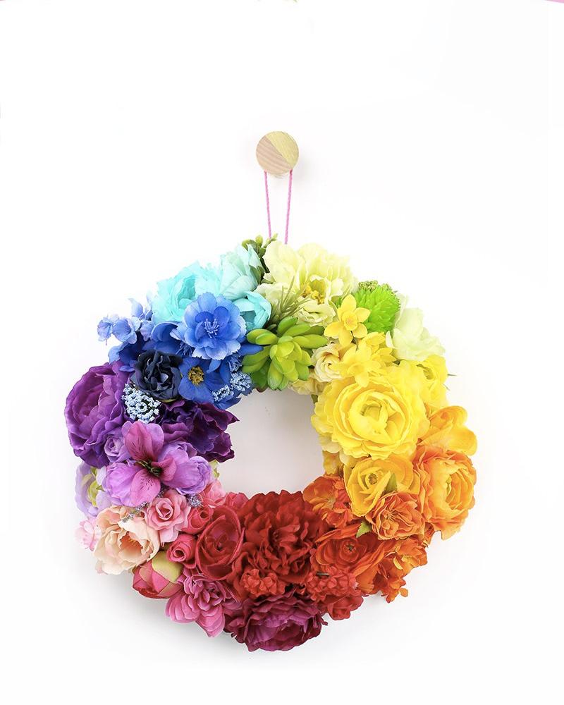 couronne fleur multicolore diy