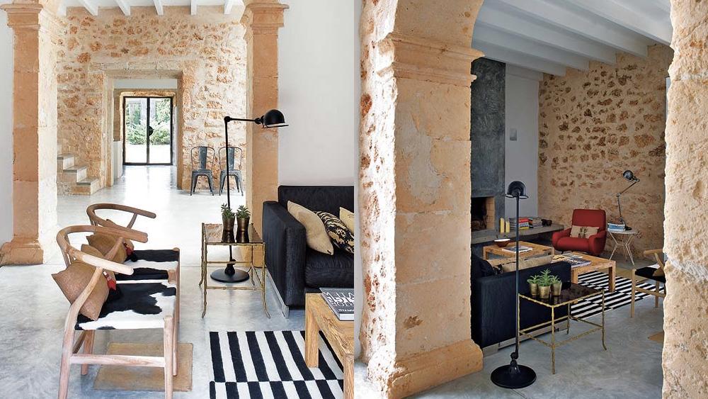 salon maison campagne murs pierre
