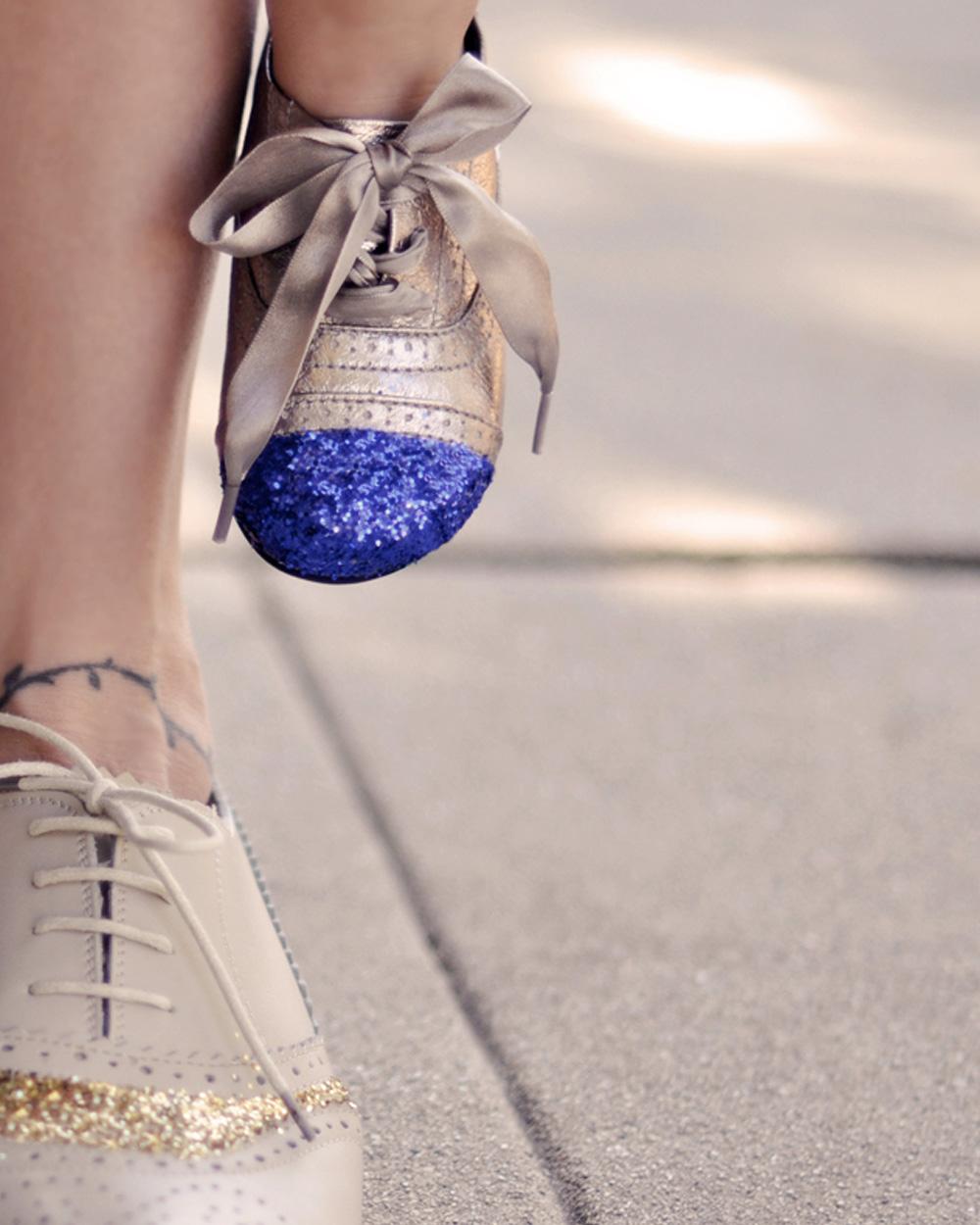 chaussure paillettes enfant diy