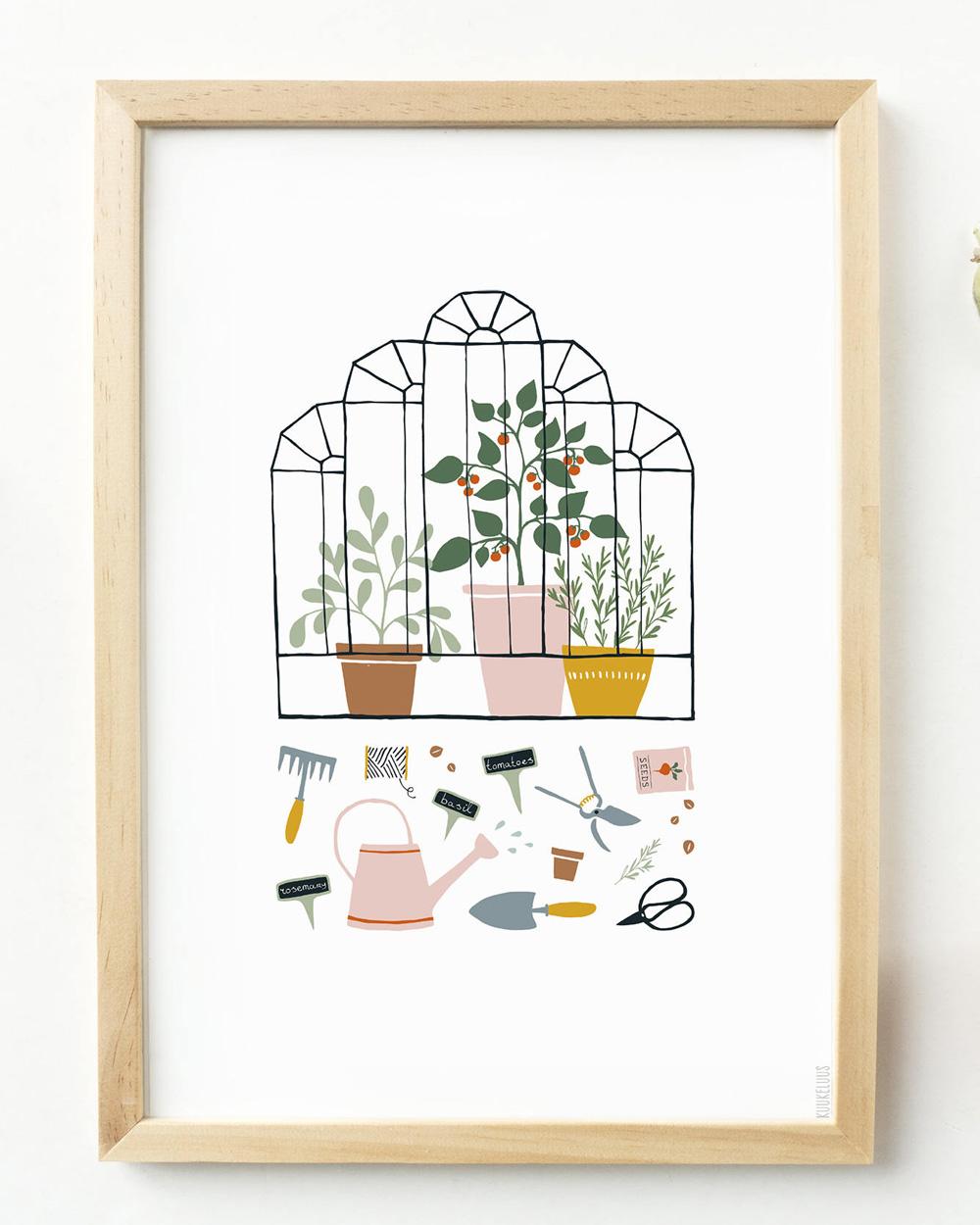 affiche illustrée serre végétale