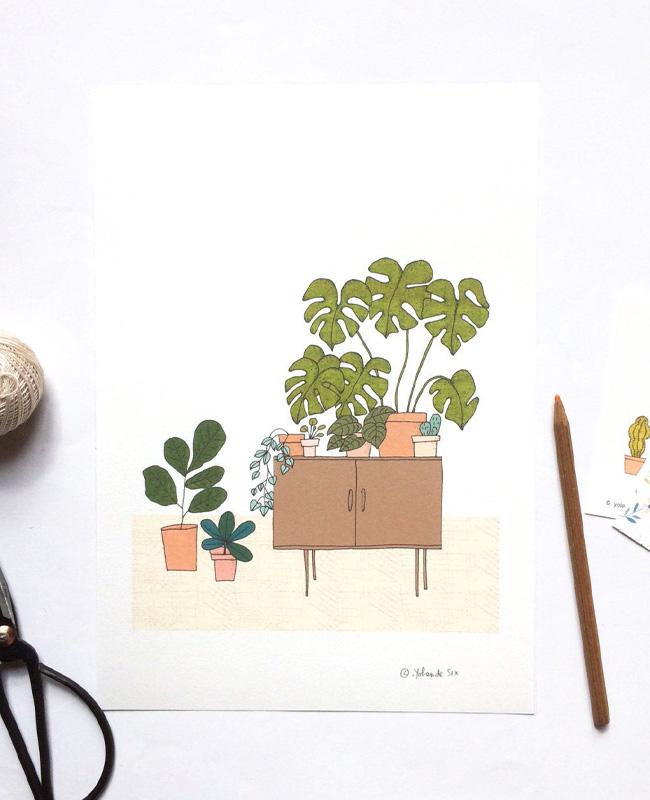 illustration végétale mademoiselle yo etsy meuble vintage plantes
