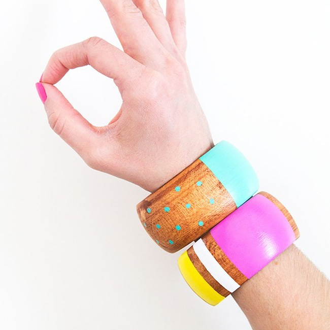 bracelet jonc bois diy peinture