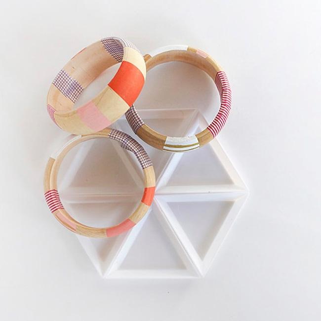 bracelet jonc bois diy washi tape