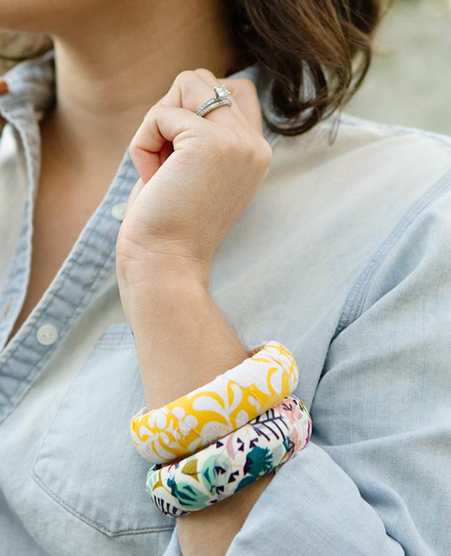 bracelet jonc bois diy tissu