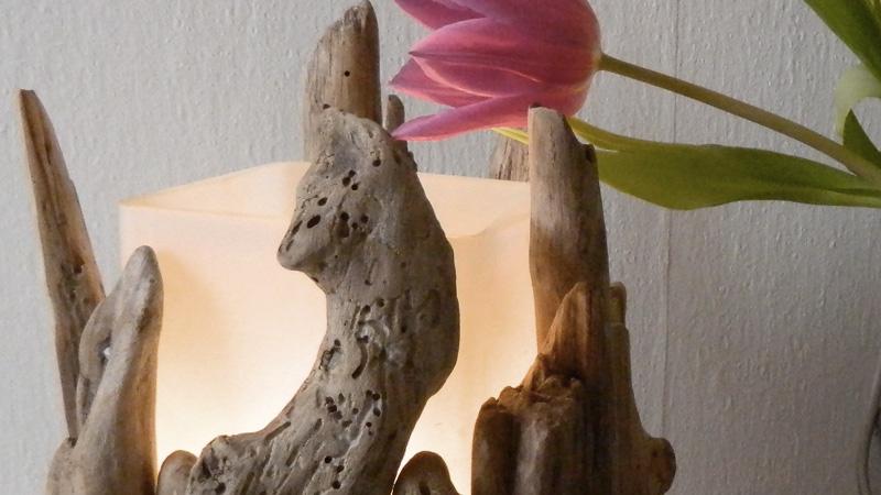 lampe bois flotté diy
