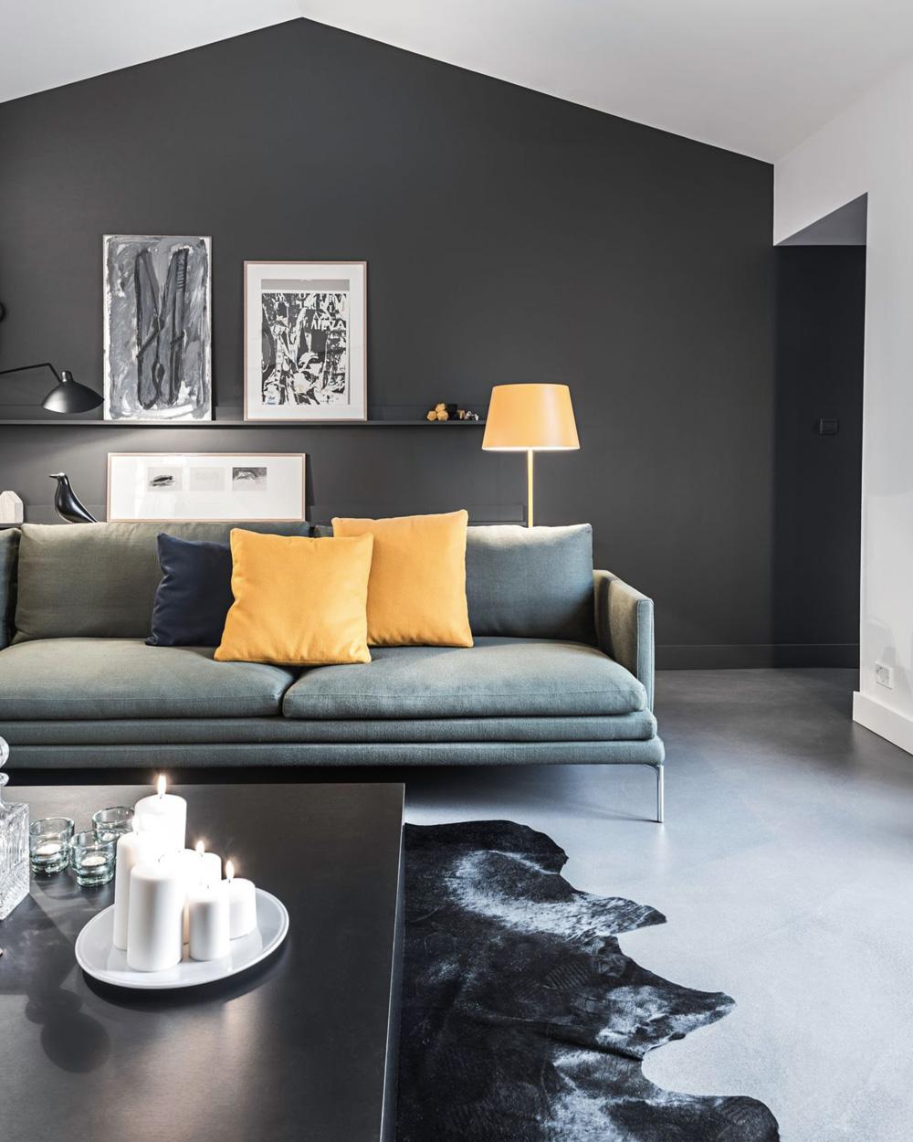 salon gris et jaune moutarde amazing peinture murale jaune peinture murale salon gris peinture. Black Bedroom Furniture Sets. Home Design Ideas