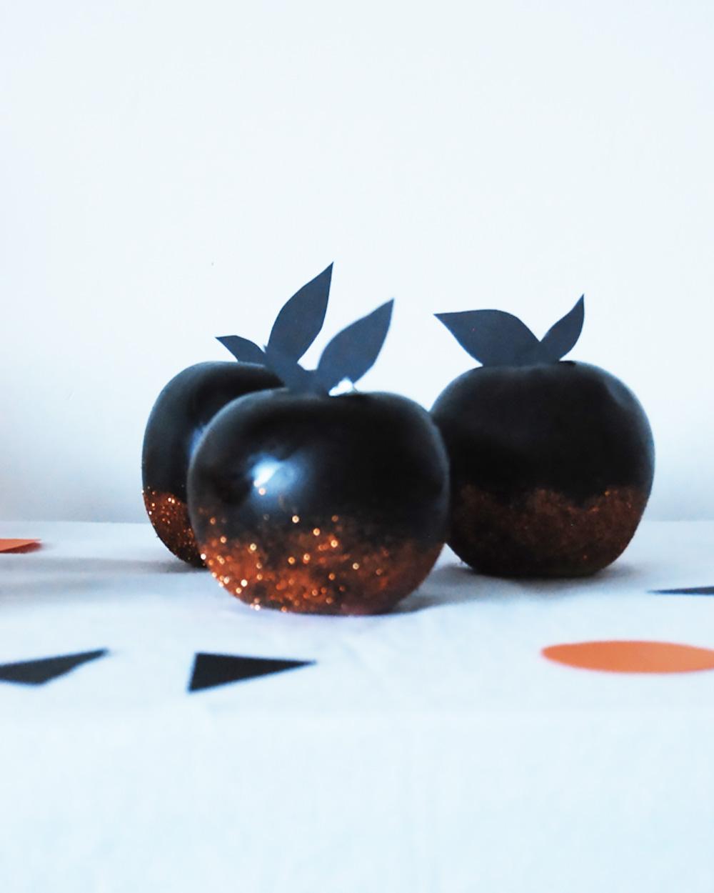 diy deco halloween pomme paillettes