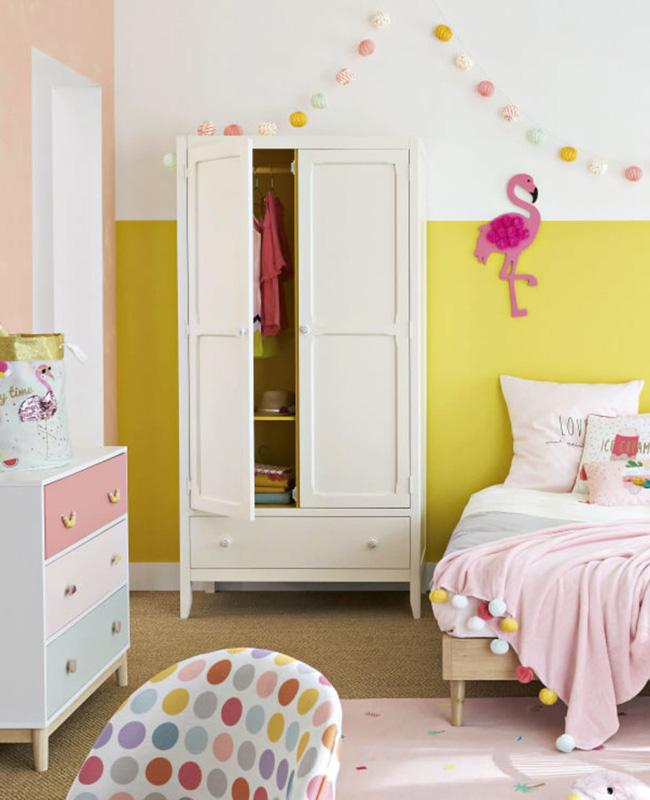 armoire vintage enfant parisienne jaune blanc