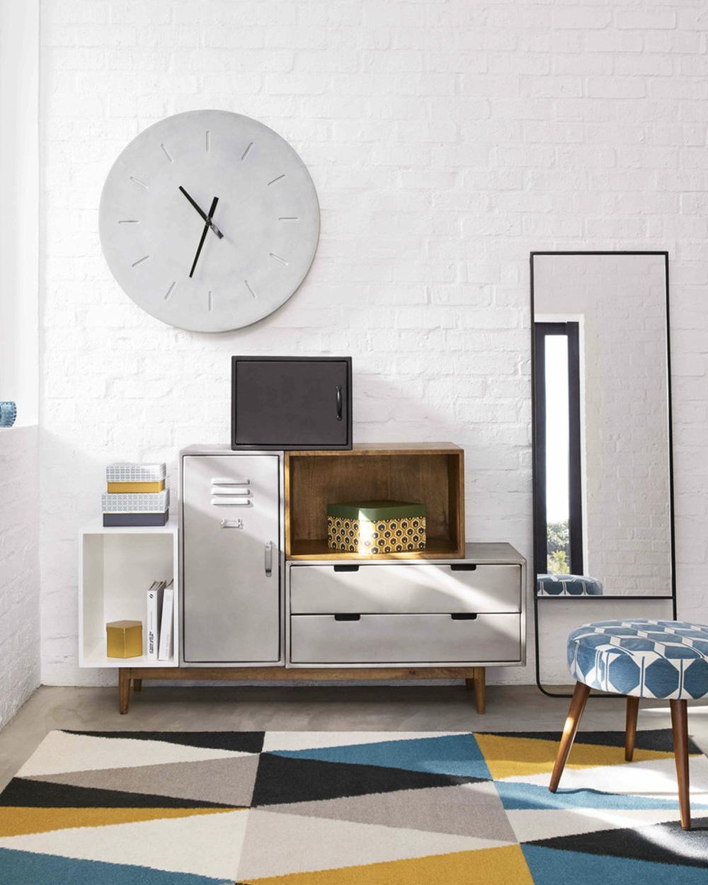 horloge effet béton