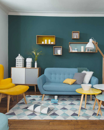 Shake my blog get the look un salon vintage en jaune for Deco sejour bleu gris