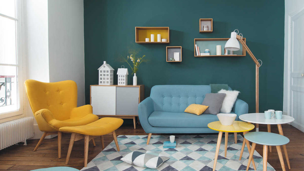 deco salon scandinave jaune bleu
