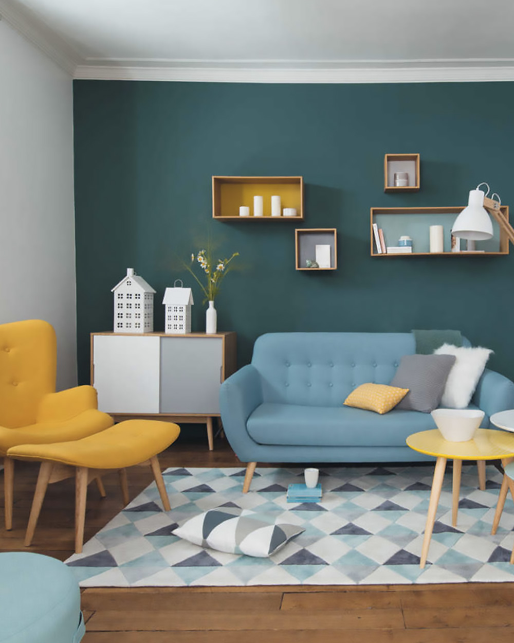 deco scandinave salon jaune bleu