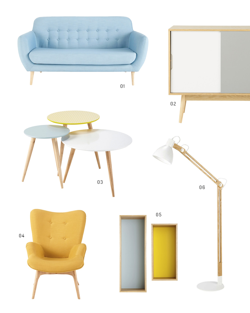 un salon vintage en jaune et bleu shake my blog. Black Bedroom Furniture Sets. Home Design Ideas