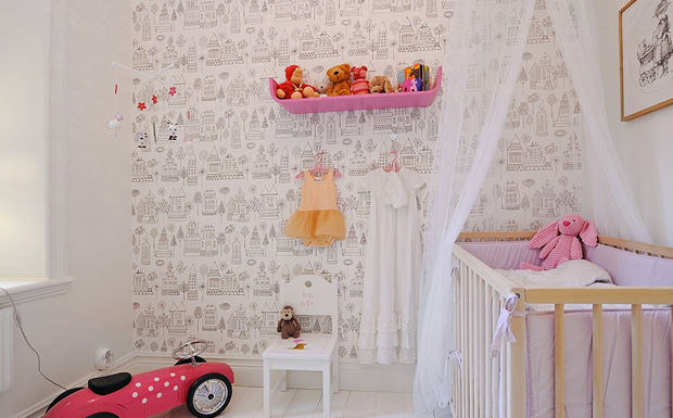 du papier peint dans la chambre des enfants shake my blog. Black Bedroom Furniture Sets. Home Design Ideas