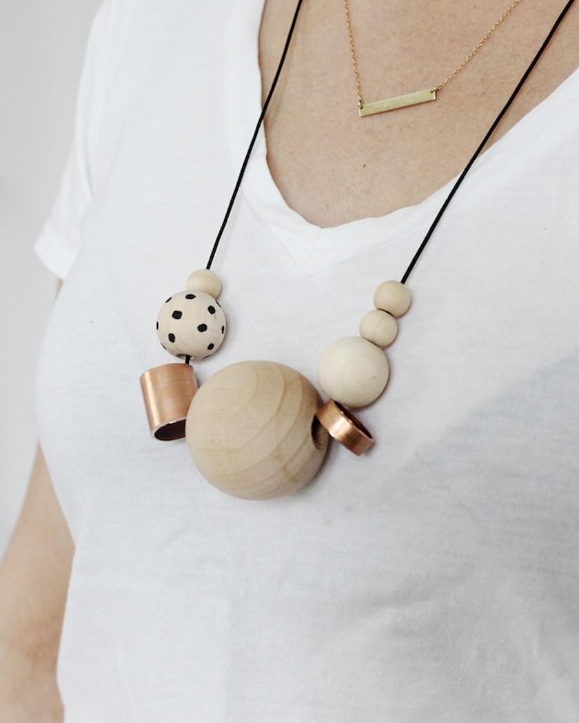 collier perle bois cuivre diy