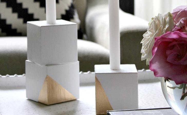 des bougeoirs avec des cubes en bois diy shake my blog. Black Bedroom Furniture Sets. Home Design Ideas