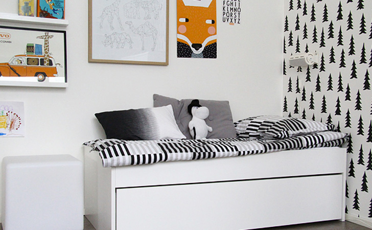 une chambre pour enfant en noir et blanc shake my blog. Black Bedroom Furniture Sets. Home Design Ideas