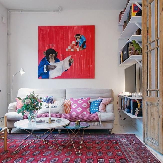 deco scandinave boheme vintage salon coloré