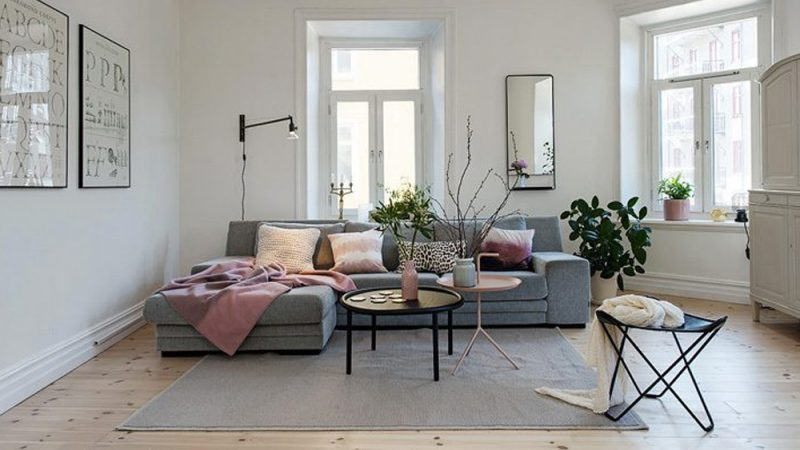 une d co de salon en rose et gris shake my blog. Black Bedroom Furniture Sets. Home Design Ideas