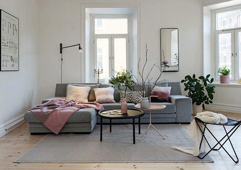 deco salon rose gris