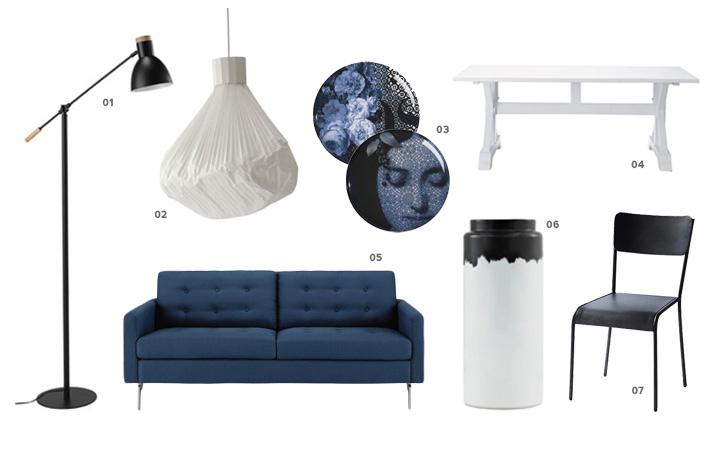 Un s jour en noir bleu et blanc shake my blog for Deco sejour blanc