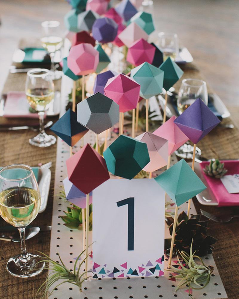 centre table mariage diy géométrique