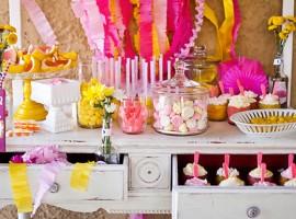 deco anniversaire rose jaune