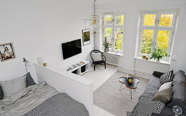 deco scandinave gris blanc salon ouvert accueil design. Black Bedroom Furniture Sets. Home Design Ideas