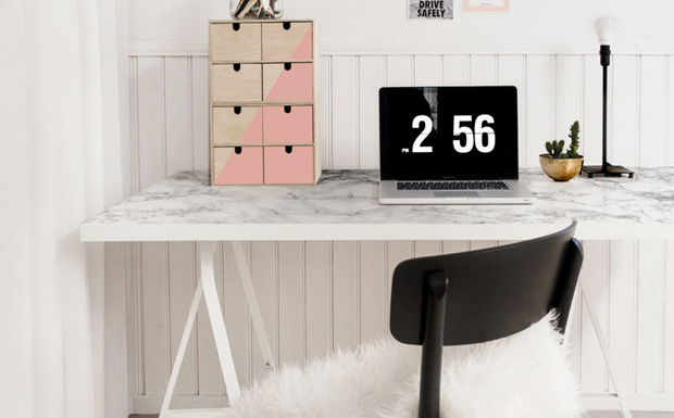 un bureau en marbre diy shake my blog. Black Bedroom Furniture Sets. Home Design Ideas