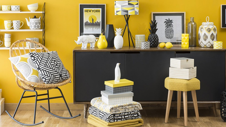 s lection d co graphique en jaune et noir shake my blog. Black Bedroom Furniture Sets. Home Design Ideas